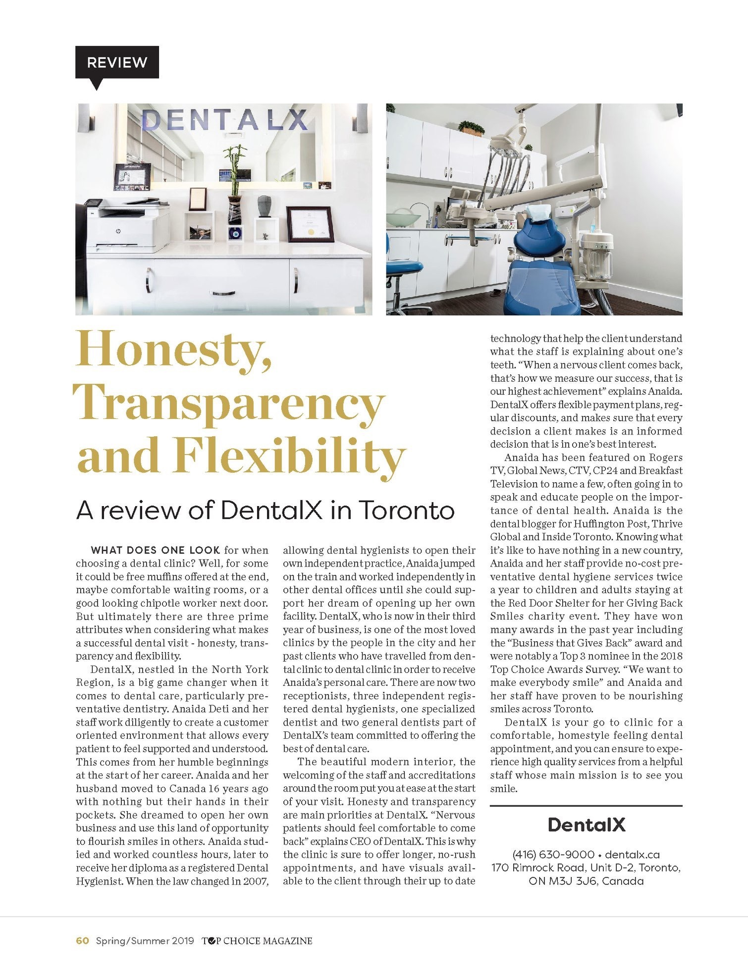 review of dentalx in top choice magazine