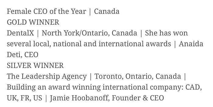 Anaida Deti CEO of the Year 2019