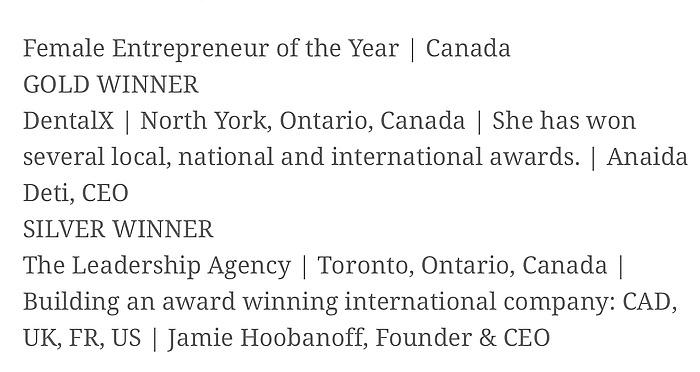 Female Entrepreneur of the Year 2019