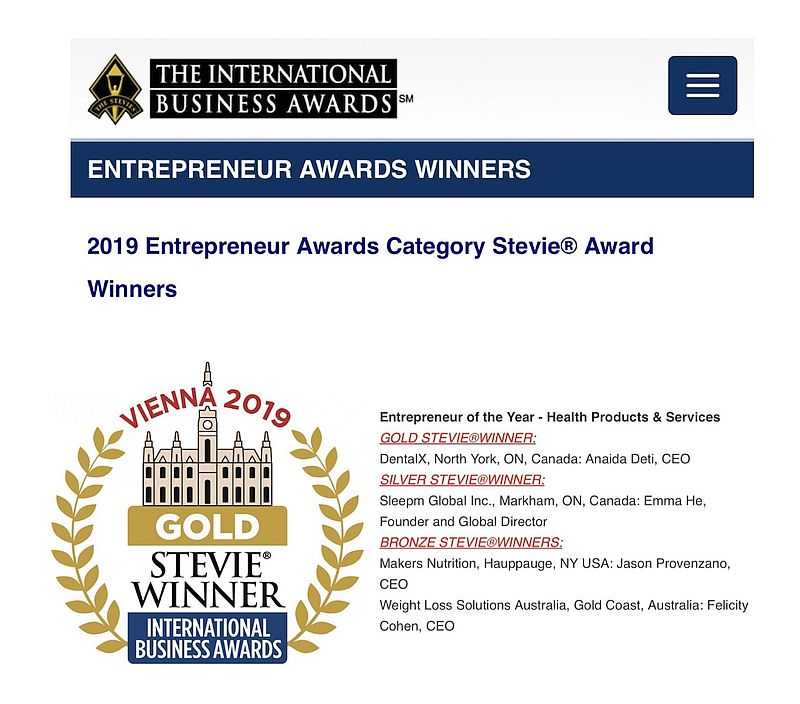 Stevies 2019 Entrepreneur of the year award winners