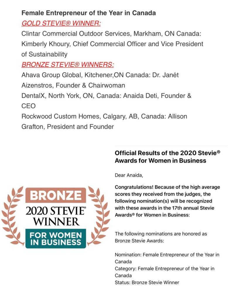 2020 Stevie awards winner for women in business